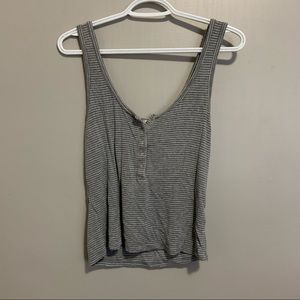 Ribbed striped tank top with buttons